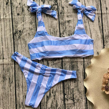 Blue/White Stripe Bow-Knot Bikini Swimsuit