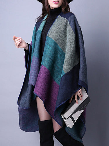 Asymmetric Hem Color Block Plaid Cape