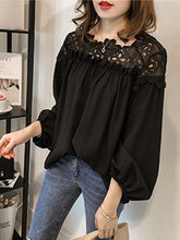 Boat Neck  Decorative Lace  Lace Plain  Puff Sleeve Blouses