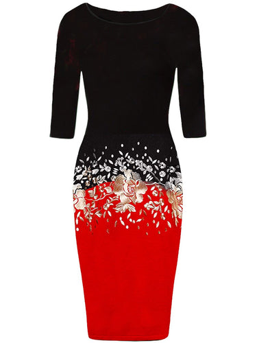 Boat Neck  Floral  Blend Bodycon High Elastic Force Dress