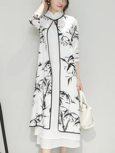 Band Collar Bamboo Printed Side Slit Two-Piece Maxi Dress