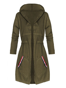 Hooded Striped Patch Pocket Drawstring Trench Coat