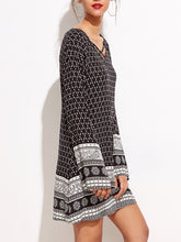 V-Neck Tribal Printed Shift Dress