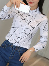 Autumn Spring  Cotton  Women  Turn Down Collar  Single Breasted  Polka Dot  Long Sleeve Blouses