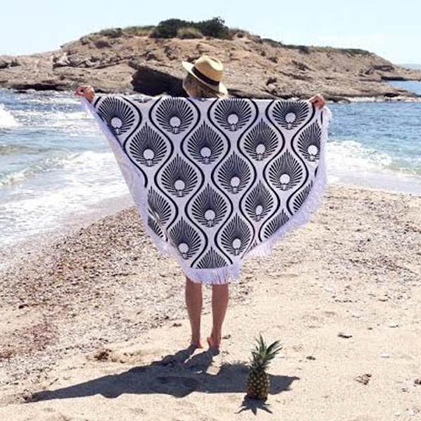 Black Crinkle Round Beach Towel Tassel Shawl