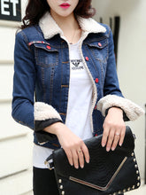 Lapel Flap Pocket Fleece Lined Denim Light Wash Jacket
