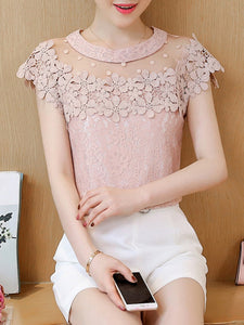 Round Neck  See Through  Floral Plain Blouses