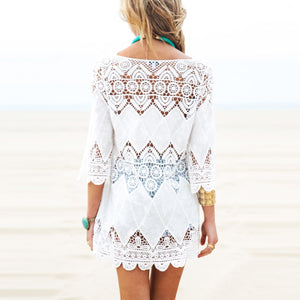 Hollow Flower Embroidered Beach Bikini Blouse