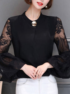 Round Neck  See Through  Plain  Lantern Sleeve Long Sleeve T-Shirts