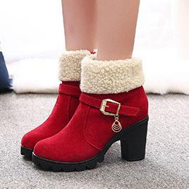 Chunky  High Heeled  Faux Suede  Casual Boots