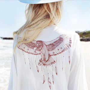 Printed Lace Sleeve Bikini Blouse Beachwear