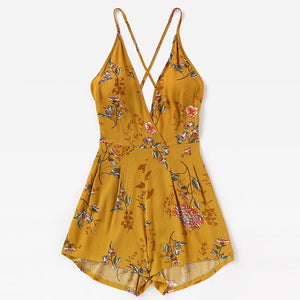 Sexy Cross Halter Printed Vacation Jumpsuit