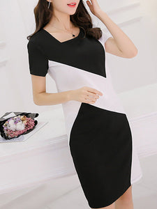 Asymmetric Neck  Fashion Color Block Bodycon Dress