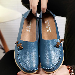 Plain  Round Toe &Genuine Leather Comfort Flats