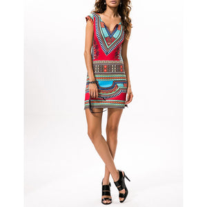 Ethnic Printed Slim Vacation Dress