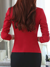 Collarless  Slit Pocket  Single Button  Color Block Plain  Long Sleeve Blazers