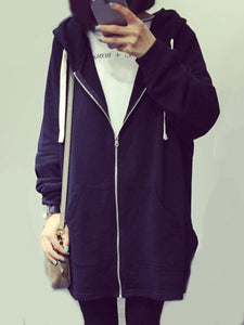 Patch Pocket Zips  Plain  Long Sleeve Hoodies