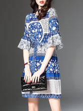 Drawstring Printed Bell Sleeve Round Neck Vacation Dress