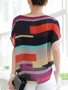Round Neck  Color Block  Batwing Sleeve Short Sleeve T-Shirts