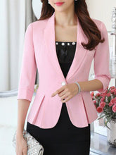 Fold-Over Collar  Flounce  Single Button  Plain  Three-Quarter Sleeve Blazers