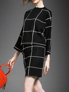 Round Neck  Plaid  Blend Bodycon Dress