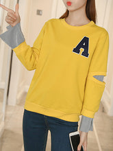 Round Neck  Patchwork  Color Block Letters Hoodie