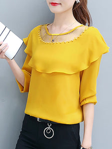 Round Neck  Beading Flounce See Through  Plain Long Sleeve T-Shirts