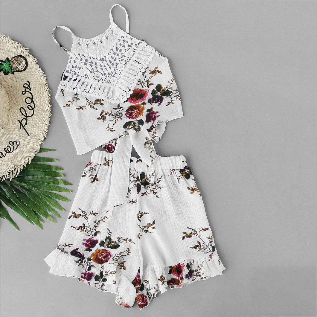 Sling Vest Ruffle Two-Piece Suit Vacation Swimwear