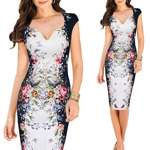 V-Neck Floral Printed Knee Length Bodycon Dress