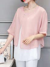 Round Neck  Decorative Buttons Side Slit Blouses