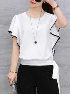 Round Neck  Flounce  Contrast Stitching Blouses