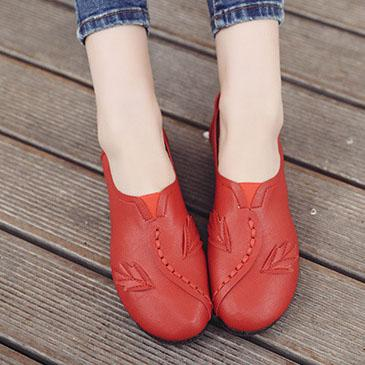 Floral  Flat  Faux Leather  Round Toe  Casual Flat & Loafers