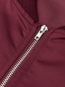 Crew Neck  Flap Pocket Zips  Chain  Plain  Long Sleeve Jackets