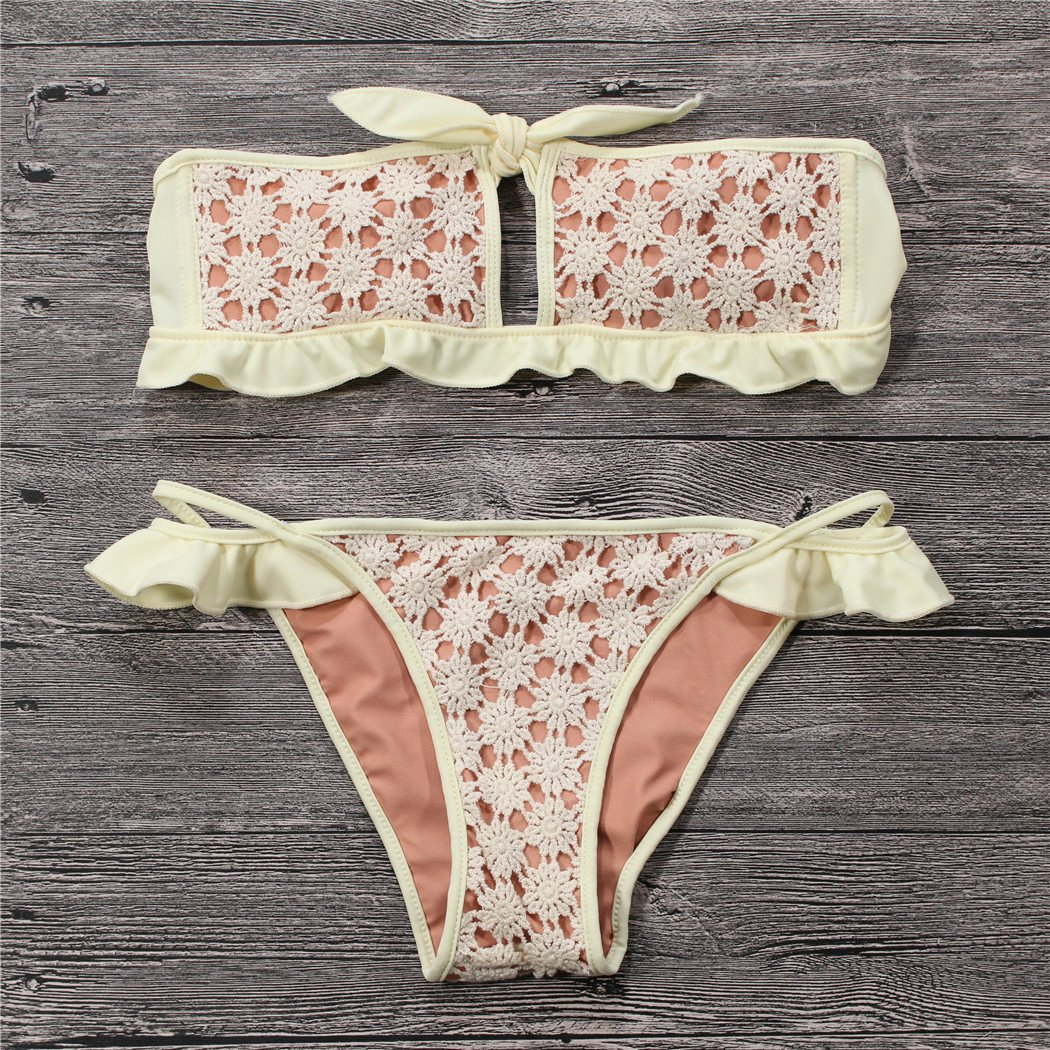 Lace Bowknot Bikini Swimsuit