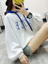 Letters Plain  Puff Sleeve  Long Sleeve Hoodies