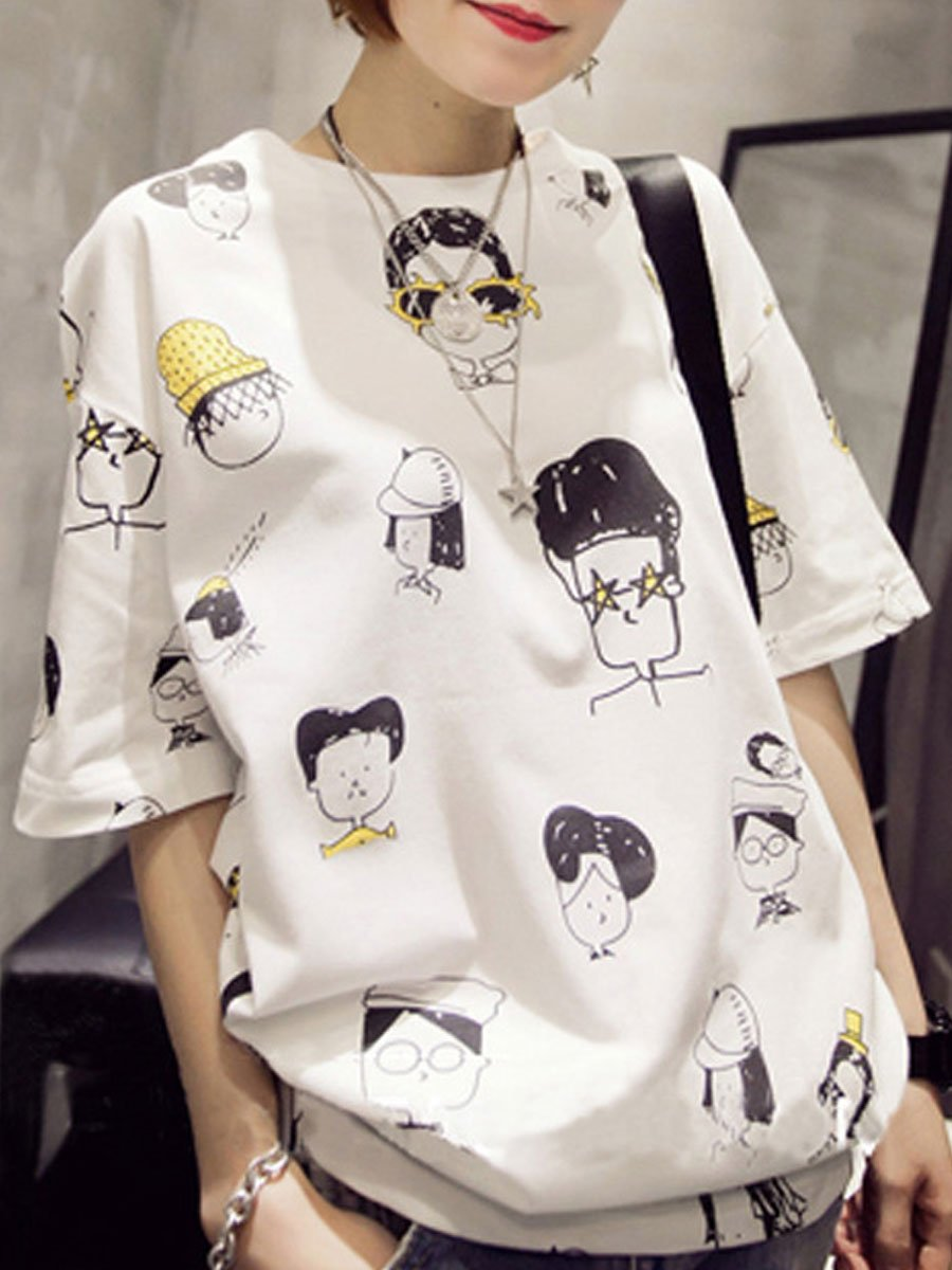 Round Neck  Cartoon Short Sleeve T-Shirts