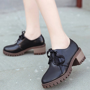 Thick Bottom Tie Round Head Rough Mid Heel Leather Shoes