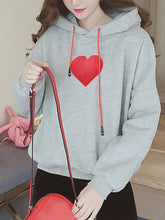 Decorative Patch Plain  Long Sleeve Hoodies