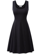 Summer Casual Women Plain Cotton Round Neck Skater Dress
