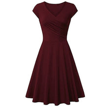Short-Sleeved Solid Color Sexy V Collar Expansion Skater Dress