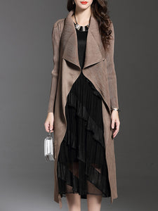 Lapel  Plain  Long Sleeve Trench Coats