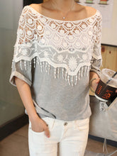 Round Neck  Decorative Lace Tassel  Plain  Roll-Up Sleeve T-Shirts