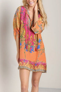 V Neck  Drawstring  Printed  Long Sleeve Casual Dresses