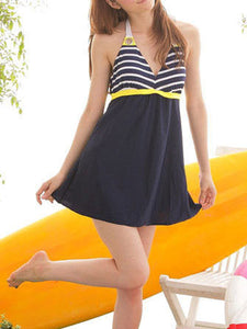 Tie Collar  Backless  Plain Striped One Piece