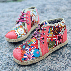 Printed  Flat  Linen  Round Toe  Casual Boots