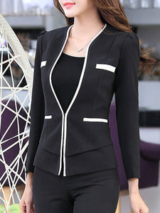 Collarless  Plain  Long Sleeve Blazers