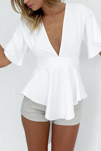 Deep V Neck  Asymmetric Hem  Back Hole Belt Loops  Plain Blouses