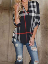 V-Neck  Asymmetric Hem  Striped  Roll-Up Sleeve Long Sleeve T-Shirts