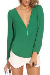Deep V Neck  Asymmetric Hem Zipper  Plain  Blouses