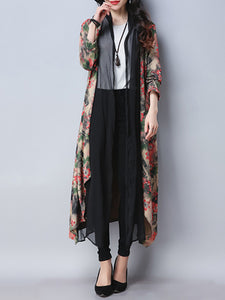 Autumn Spring  Cotton/Linen  Collarless  Floral  Long Sleeve Trench Coats